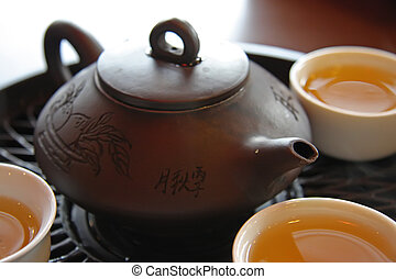 Chinese tea service - Traditional chinese tea service with...