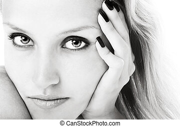 Purity - Black and white close-up portrait of young girl...
