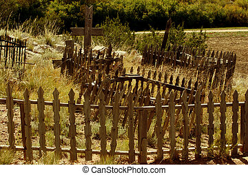 Graveyard Fence - Wooden fence around a graveyard at the...