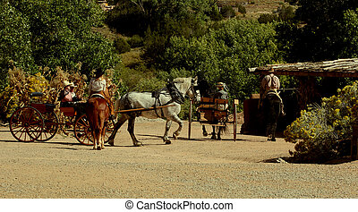 1880 - Horses and wagons, at Rancho de las Golondrinos near...