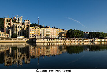 The city of Lyon, France - Image shows a cityscape of Lyon,...
