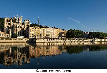 The city of Lyon, France - Image shows a cityscape of Lyon,...