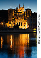 Notre Dame de Fourviere in Lyon illuminated - Early evening...