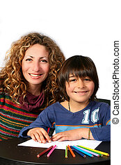 Education - Digital photo of a mother teaching her son.