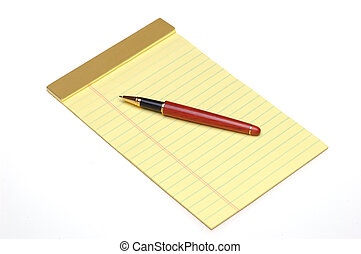 Pen on Yellow Pad - Wooden Pen on Yellow Legal Pad isolated...