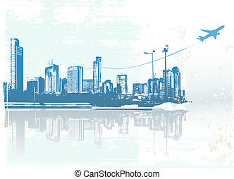 urban background - Big City - Grunge styled urban background...