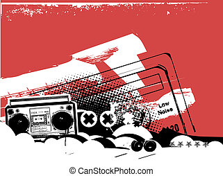 Boombox . Grunge styled urban background in graffiti style....