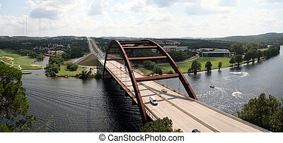 Austin 360 Bridge - The Austin 360 bridge from an artistic...
