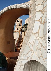 roof of Casa Mila - Barcelona by Gaudi