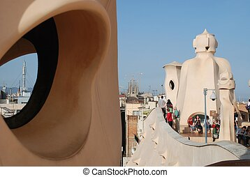 roof of Casa Mila - Barcelona, by Gaudi