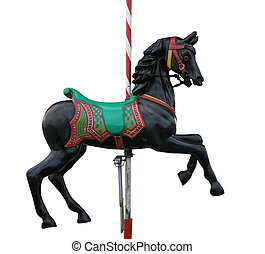 Black Merry-Go-Round Horse - A merry-go-round horse isolated...