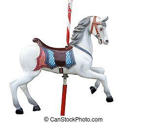 Merry-Go-Round Horse - A merry-go-round horse isolated with...