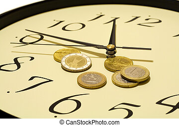 Time and money concept - with euro coins