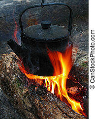 campfire tea - smoke teapot, orange flame, calm sunrize this...