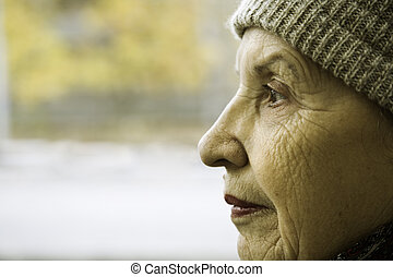 old woman - grandmother, focus point on the eye
