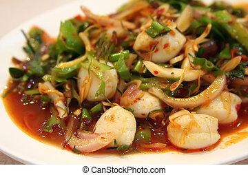 Thai salad - Thai seafood and vegetable salad white plate