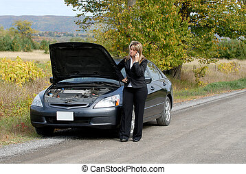Breakdown - Businesswoman And Her Car Stranded By The Side...