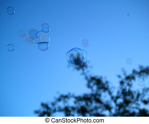 Soap Bubbles with tree on Sky background with light...