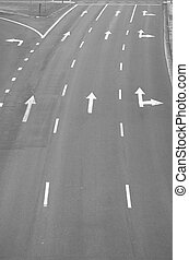 Directions - Directional arrows on a multi-lane highway....