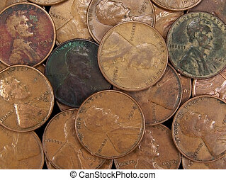 Vintage USA Wheat Pennies - Full frame photo of several...