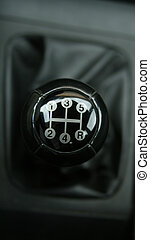 European sport car`s manual gear shift.