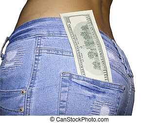 Adult girls back with 100 dollar in a jeans skirt.