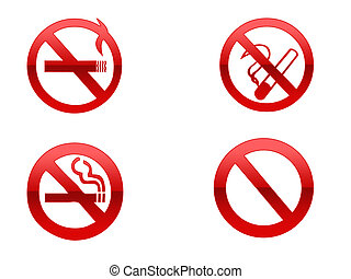 No Smoking - Four different no smoking signs