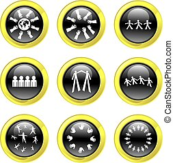 teamwork icons - set of teamwork icons on black glossy...