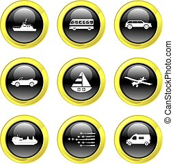 transport icons - set of transport icons on black glossy...