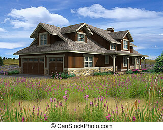 3d Model of ranch house photo-matched in prairie background