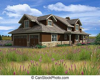 3D, modelo, rancho, casa
