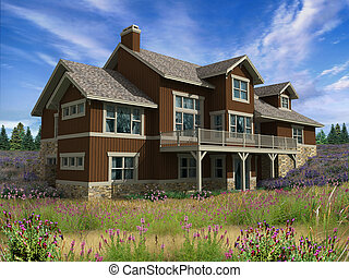 3d Model of home - 3d Model of two level house photo-matched...