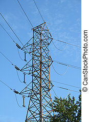 High tension power lines against blue sky