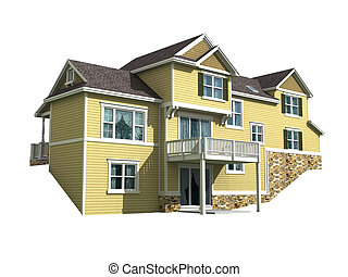 3d model of home - 3d model of two level house isolated on...