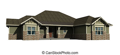 3d model of ranch house isolated on white, with work path...
