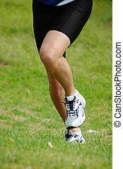 Running legs - Two caucasian white female legs of a...