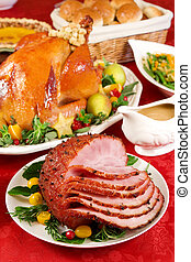 Honey glazed ham - Holiday dinner with baked ham, roast...