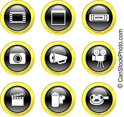 film icons - set of film related icons on black glossy...