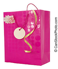 Girly Gift - Pink Carrier Bag with ribbons and blank gift...