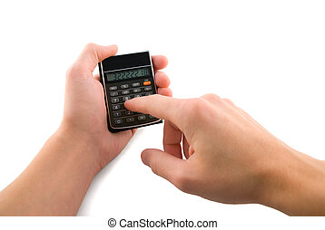 Calculating - Calculator in hands, isolated white