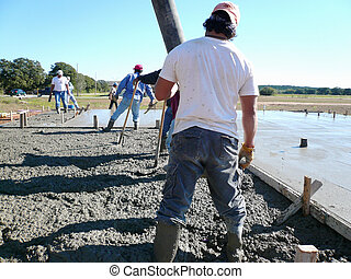Laborer Using the Pump - Laborer using the end of the...