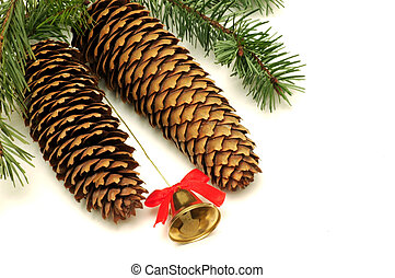 Christmas Ornament - Pine cones christmas ornament with bell