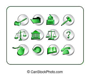 Legal Icon Set - Green-Silver - Legal Icon Set,...