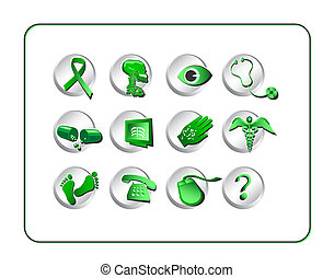 Medical and Pharmacy Icon Set - Green-Silver - Medical...