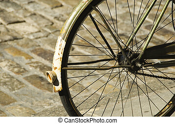 bicycle chained to post