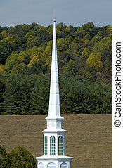 Country Church Steeple - White Steeple on a Rural Country...