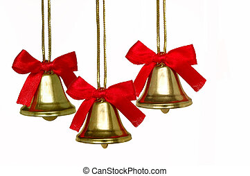 Christmas Bells - Three isolated Christmas Bells in white...