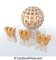World Wide Web - a 3d rendering to illustrate the World Wide...