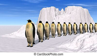 penguins walk - a 3d rendering of penguins walking on the...