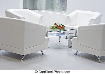 Four armchairs - Four white armchairs with glass table